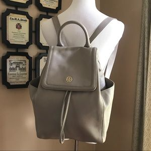 Tory Burch Grey Leather Drawstring Backpack